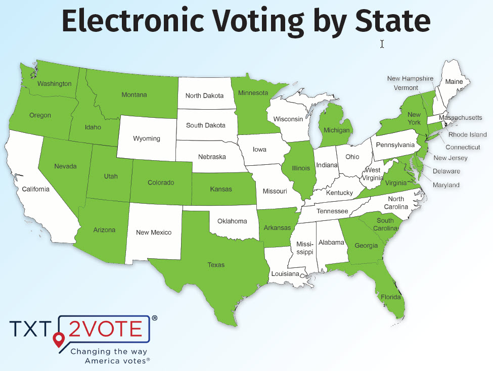 Map of Electronic Voting by State for Homeowner Associations HOAs and Condo Communities